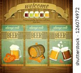 Pub Beer Menu in Retro Vintage Grunge Style, Set of Labels on Wooden Background. Vector Illustration. - stock vector