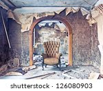 old abandoned burned interior photo - stock photo