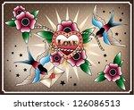 vector illustration  old school ... | Shutterstock .eps vector #126086513