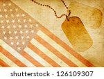 Vintage USA flag and ID tags - stock photo