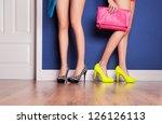 two girls wearing high heels... | Shutterstock . vector #126126113