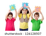 three kids with colorful... | Shutterstock . vector #126128507