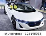 DETROIT - JANUARY 27 :The Honda EV-STER concept at The North American International Auto Show January 27, 2013 in Detroit, Michigan. - stock photo