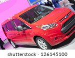 DETROIT - JANUARY 27 :The new 2014 ford transit connect compact van at The North American International Auto Show January 27, 2013 in Detroit, Michigan. - stock photo