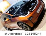 DETROIT - JANUARY 27 :The new BMW i3 Concept Coupe at The North American International Auto Show January 27, 2013 in Detroit, Michigan. - stock photo