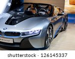 DETROIT - JANUARY 27 :The new BMW i8 hybrid concept at The North American International Auto Show January 27, 2013 in Detroit, Michigan. - stock photo