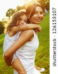 portrait mom and daughter at... | Shutterstock . vector #126153107