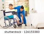 young caregiver helping elderly ... | Shutterstock . vector #126153383