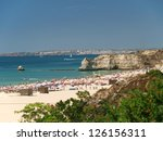 A section of the idyllic Praia de Rocha beach on the Algarve region. - stock photo