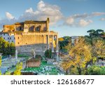 Small photo of Basilica Aemilia and Romulus Temple at the Foro Romano in Rome, Italy