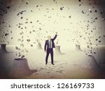 happy businessman and coin come ... | Shutterstock . vector #126169733