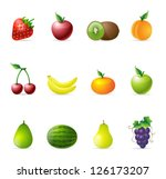 fresh fruit icons in colors | Shutterstock .eps vector #126173207