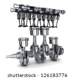 Crankshaft and camshaft car (done in 3d) - stock photo