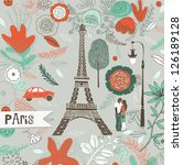Retro Paris greeting card - stock vector
