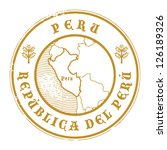 Grunge rubber stamp with the name and map of Peru, vector illustration - stock vector