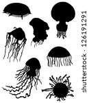 Collection of silhouettes of jellyfishes - stock vector