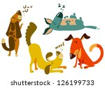 Stock vector cute dogs set 126199733