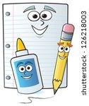 three common school supplies...   Shutterstock .eps vector #126218003