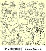 hand drawn bunnies  rabbits ...   Shutterstock .eps vector #126231773
