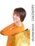 beautiful girl posing in orange ... | Shutterstock . vector #126236393