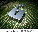 Privacy concept: circuit board with Opened Padlock icon, 3d render - stock photo