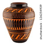 Navajo Native American Clay Pottery Decorative Vase - stock photo