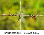 cross barbed wire in blur... | Shutterstock . vector #126255317