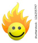 fire icon with happy face... | Shutterstock . vector #126255797