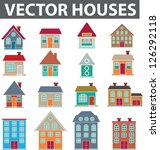 vector houses icons set, vector - stock vector