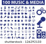 100 music   media icons set ...