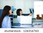 young woman and doctor watching ... | Shutterstock . vector #126316763