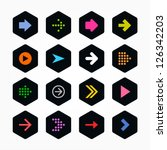 arrow icon sign set. color on... | Shutterstock .eps vector #126342203