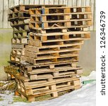 Stack of pallets - stock photo