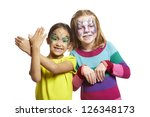 young girls with face painting... | Shutterstock . vector #126348173