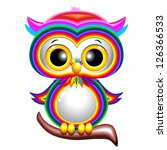 Rainbow Baby Owl Cartoon - stock photo