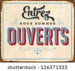 vintage french metal sign  ... | Shutterstock .eps vector #126371333
