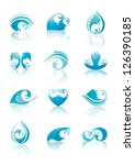 Set of Water and Drops signs, vector illustration - stock vector