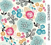 vector floral seamless pattern with abstract plants and flowers - stock vector