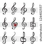 treble clefs | Shutterstock .eps vector #126402557