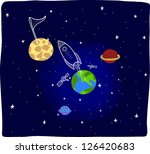space with spaceship cartoon | Shutterstock .eps vector #126420683