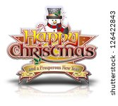happy christmas lettering with... | Shutterstock . vector #126422843