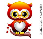 Baby Owl Love Heart Cartoon - stock photo
