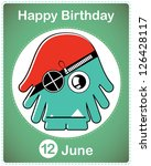 happy birthday card with cute... | Shutterstock .eps vector #126428117