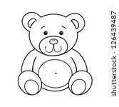 Outlined Bear Toy Vector...
