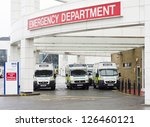 EDINBURGH - JANUARY 13: the Emergency Department of the Royal Infirmary on January 13, 2013 in Edinburgh, Scotland. Established in 1729, the Infirmary is the oldest voluntary hospital in Scotland. - stock photo