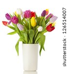 Multicolored Tulips In A Vase ...