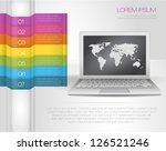 Design template numbered banners with laptop and map of the world. Rainbow infographics - stock vector