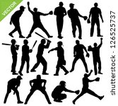 cricket player silhouettes... | Shutterstock .eps vector #126525737