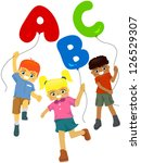 happy kids abc balloons | Shutterstock .eps vector #126529307