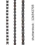 Three bicycle chains on white background, ready for cut and paste - stock photo